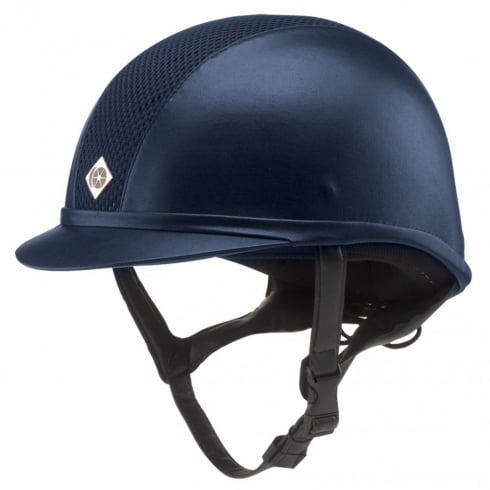 Charles Owen AYR8 Leather Look Navy Helmet