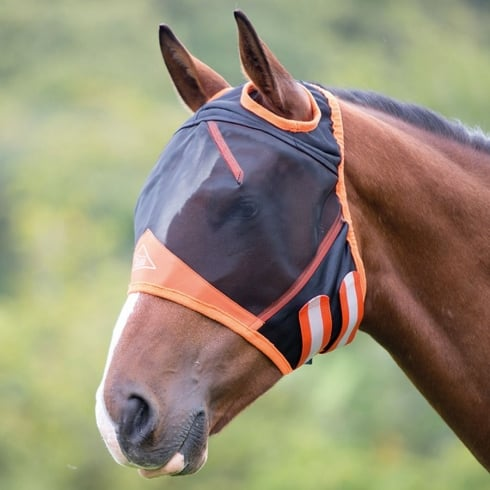 Shires Fine Mesh Fly Mask with Ear Holes - Black/Orange