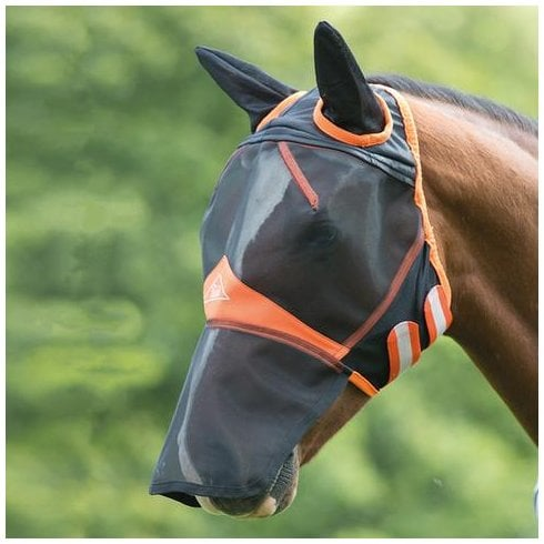 Shires New Fine Mesh Fly Mask with Ears and Nose Extension - Black/Orange