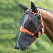 New Fine Mesh Fly Mask with Ears and Nose Extension - Black/Orange